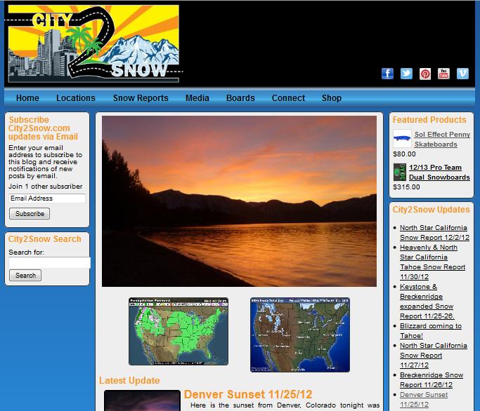 City2Snow Wordpress Website