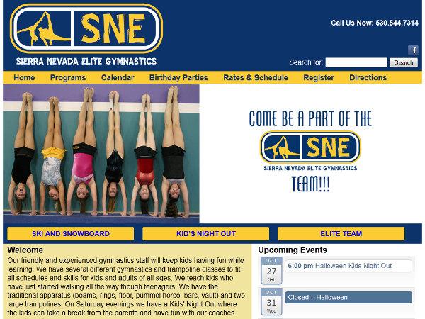 SNE Gymnastics Wordpress Website