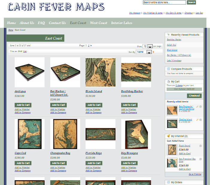 Cabin Fever Maps Magento Template Screen Shot