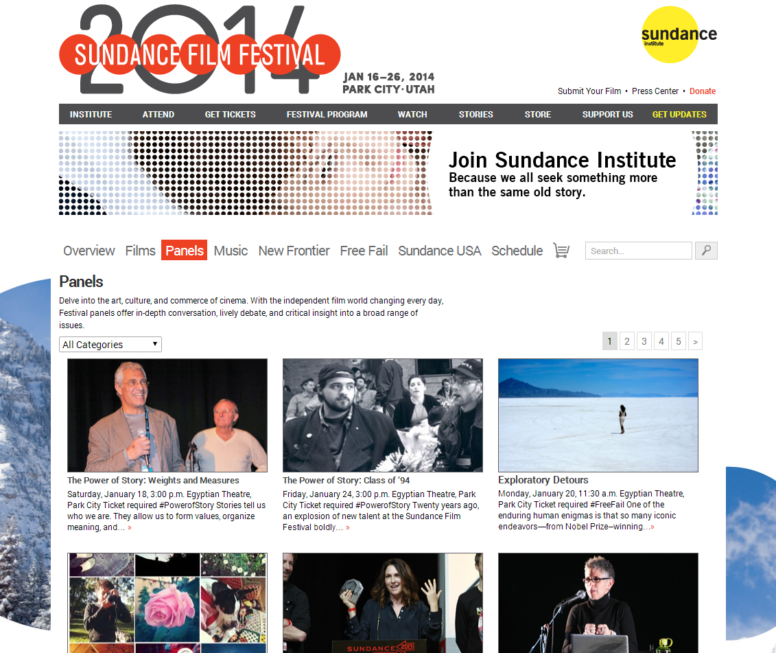 Sundance Filmguide Panels Page 2014 Screenshot