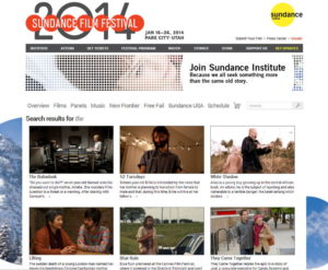 Sundance Filmguide Search Screenshot