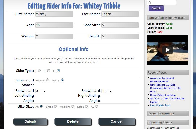 Screenshot of Frontside Customer Profile
