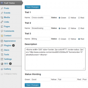 Widget in the WordPress Dashboard