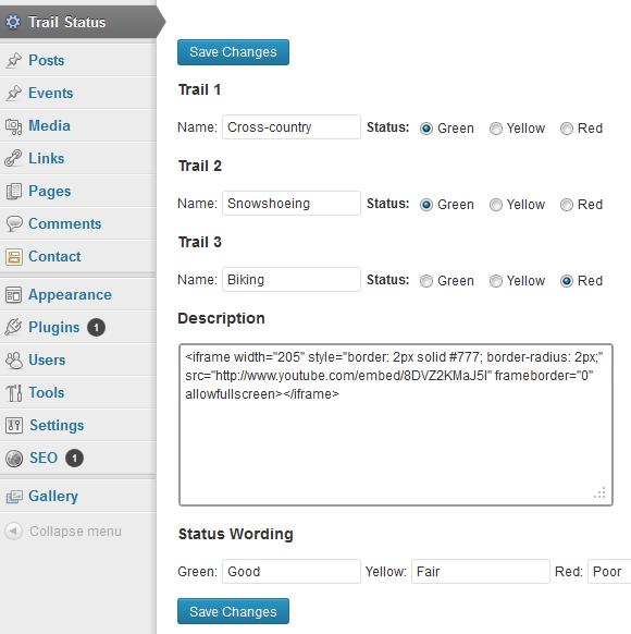 Trail Status WordPress Widget (1.0)