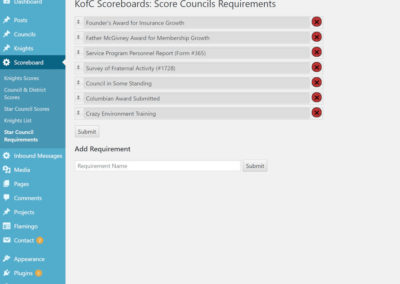 Star Council Requirements Admin Page